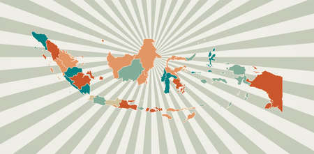 Indonesia map. Poster with map of the country in retro color palette. Shape of Indonesia with sunburst rays background. Vector illustration.