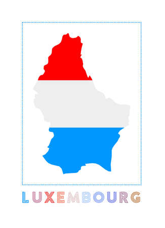 Luxembourg Logo. Map of Luxembourg with country name and flag. Beautiful vector illustration.