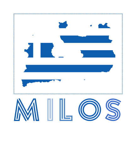 Milos Logo. Map of Milos with island name and flag. Attractive vector illustration. Vettoriali