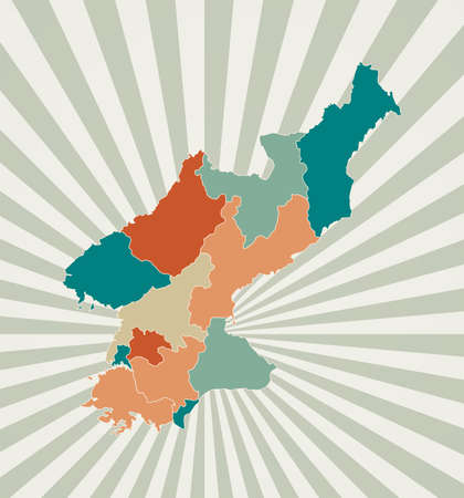 North Korea map. Poster with map of the country in retro color palette. Shape of North Korea with sunburst rays background. Vector illustration.  イラスト・ベクター素材