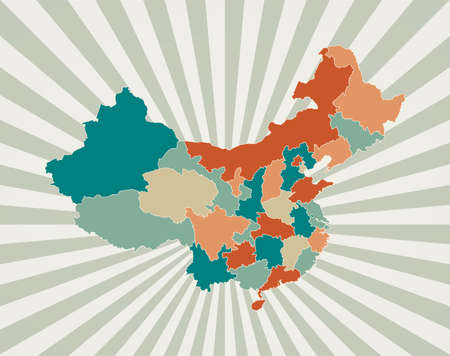 China map. Poster with map of the country in retro color palette. Shape of China with sunburst rays background. Vector illustration. Ilustrace