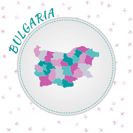 Bulgaria map design. Map of the country with regions in emerald-amethyst color palette. Rounded travel to Bulgaria poster with country name and airplanes background. Amazing vector illustration.