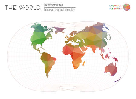 Polygonal world map. Laskowski tri-optimal projection of the world. Colorful colored polygons. Modern vector illustration.