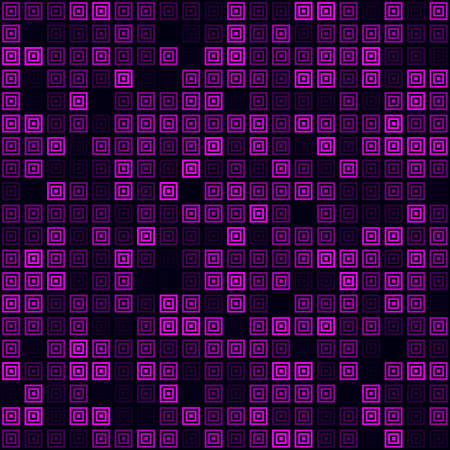 Digital pattern. Filled pattern of multiple squares. Magenta colored seamless background. Astonishing vector illustration.
