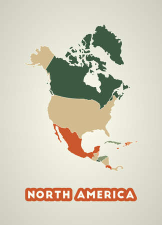 North America poster in retro style. Map of the continent with regions in autumn color palette. Shape of North America with continent name. Astonishing vector illustration.