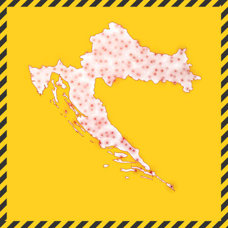 Croatia closed - virus danger sign. Lock down country icon. Black striped border around map with virus spread concept. Vector illustration. Illustration