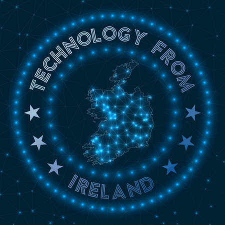 Technology From Ireland. Futuristic geometric badge of the country. Technological concept. Round Ireland logo. Vector illustration. Vectores