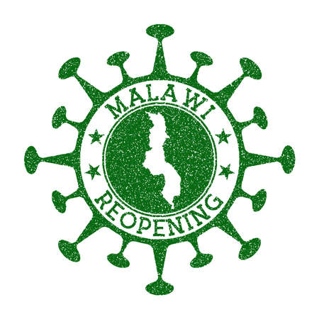 Malawi Reopening Stamp. Green round badge of country with map of Malawi. Country opening after lockdown. Vector illustration.