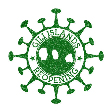Gili Islands Reopening Stamp. Green round badge of island with map of Gili Islands. Island opening after lockdown. Vector illustration.