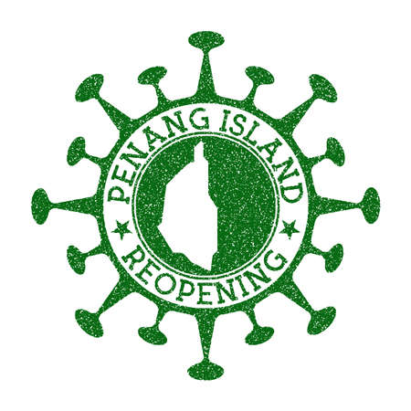 Penang Island Reopening Stamp. Green round badge of island with map of Penang Island. Island opening after lockdown. Vector illustration.