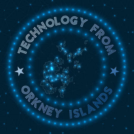 Technology From Orkney Islands. Futuristic geometric badge of the island. Technological concept. Round Orkney Islands logo. Vector illustration. Vectores