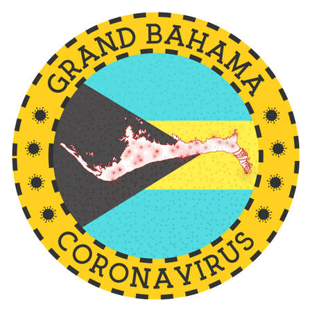 Coronavirus in Grand Bahama sign. Round badge with shape of Grand Bahama. Yellow island lock down emblem with title and virus signs. Vector illustration.