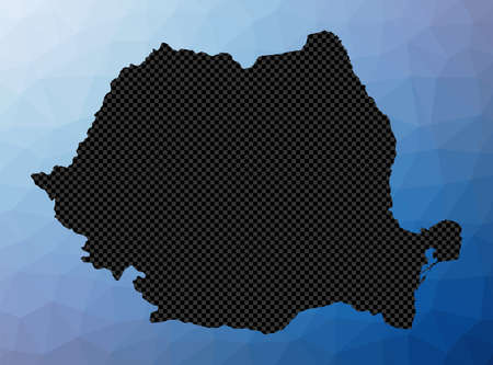 Romania geometric map. Stencil shape of Romania in low poly style. Awesome country vector illustration.
