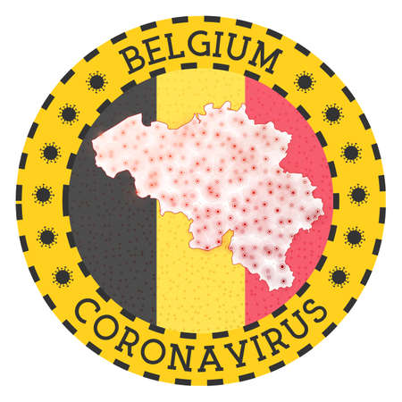 Coronavirus in Belgium sign. Round badge with shape of Belgium. Yellow country lock down emblem with title and virus signs. Vector illustration. Vectores