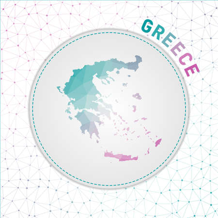 Vector polygonal Greece map. Map of the country with network mesh background. Greece illustration in technology, internet, network, telecommunication concept style . Astonishing vector illustration.