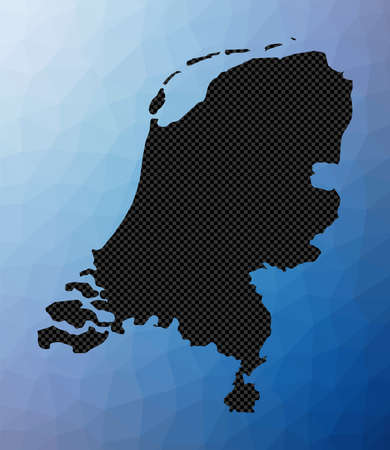 Netherlands geometric map. Stencil shape of Netherlands in low poly style. Cool country vector illustration. 矢量图像