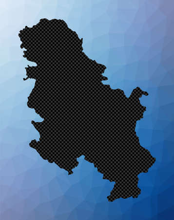 Serbia geometric map. Stencil shape of Serbia in low poly style. Stylish country vector illustration.