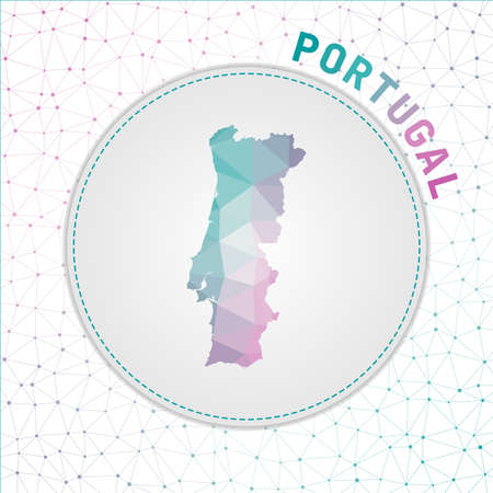 Vector polygonal Portugal map. Map of the country with network mesh background. Portugal illustration in technology, internet, network, telecommunication concept style . Artistic vector illustration. Vectores