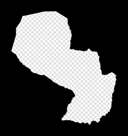 Stencil map of Paraguay. Simple and minimal transparent map of Paraguay. Black rectangle with cut shape of the country. Astonishing vector illustration. Иллюстрация