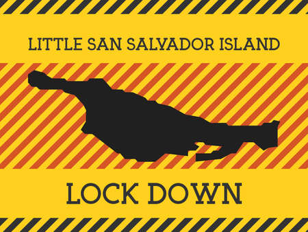Little San Salvador Island Lock Down Sign. Yellow island pandemic danger icon. Vector illustration.