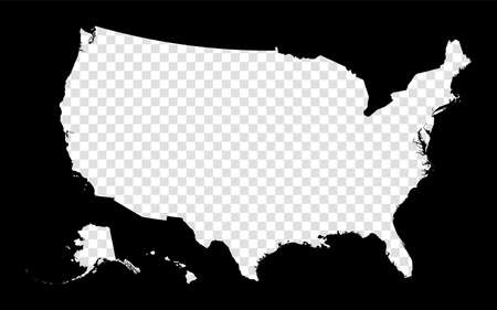 Stencil map of USA. Simple and minimal transparent map of USA. Black rectangle with cut shape of the country. Stylish vector illustration.