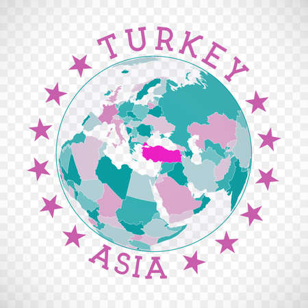 Turkey round logo. Badge of country with map of Turkey in world context. Country sticker stamp with globe map and round text. Radiant vector illustration.