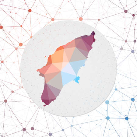 Abstract vector map of Rhodes. Technology in the island geometric style poster. Polygonal Rhodes map on 3d triangular mesh backgound.