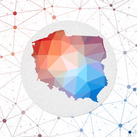 Abstract vector map of Poland. Technology in the country geometric style poster. Polygonal Poland map on 3d triangular mesh background.