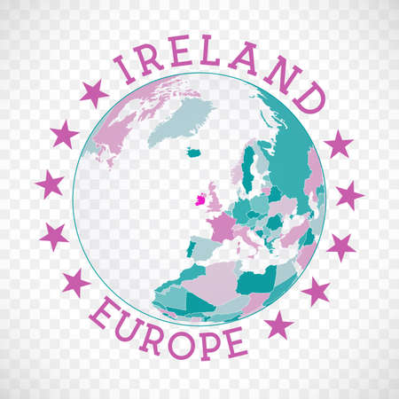 Ireland round logo. Badge of country with map of Ireland in world context. Country sticker stamp with globe map and round text. Appealing vector illustration.
