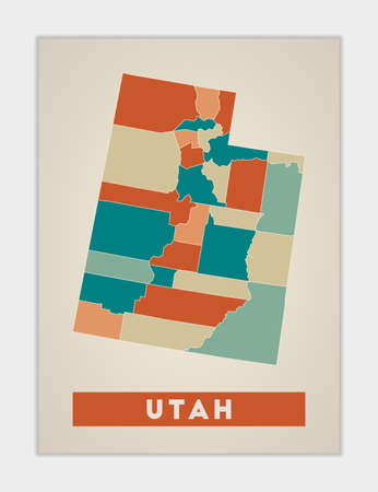 Utah poster. Map of the us state with colorful regions. Shape of Utah with us state name. Astonishing vector illustration.