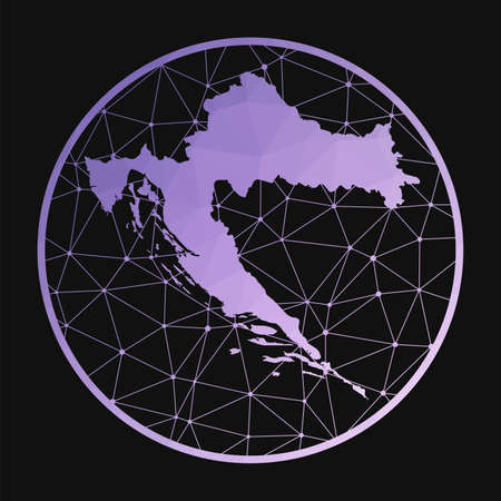 Croatia icon. Vector polygonal map of the country. Croatia icon in geometric style. The country map with purple low poly gradient on dark background. Vectores