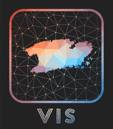 Vis map design. Vector low poly map of the island. Vis icon in geometric style. The island shape with polygnal gradient and mesh on dark background.