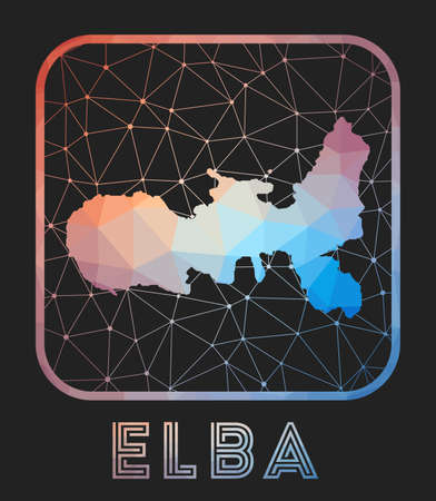 Elba map design. Vector low poly map of the island. Elba icon in geometric style. The island shape with polygnal gradient and mesh on dark background. Vectores