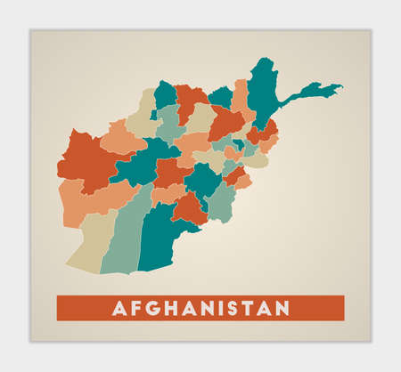 Afghanistan poster. Map of the country with colorful regions. Shape of Afghanistan with country name. Awesome vector illustration.