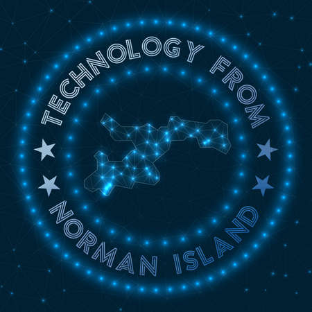 Technology From Norman Island. Futuristic geometric badge of the island. Technological concept. Round Norman Island logo. Vector illustration. Illustration