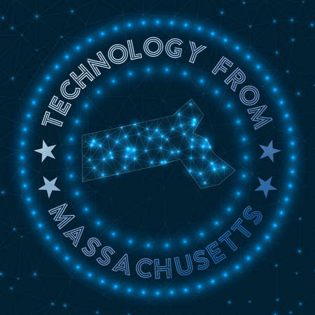 Technology From Massachusetts. Futuristic geometric badge of the us state. Technological concept. Round Massachusetts logo. Vector illustration.