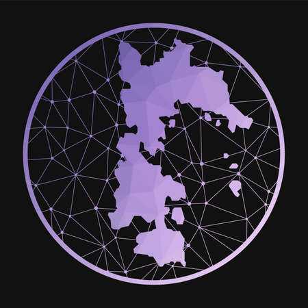 Patmos icon. Vector polygonal map of the island. Patmos icon in geometric style. The island map with purple low poly gradient on dark background. Vectores