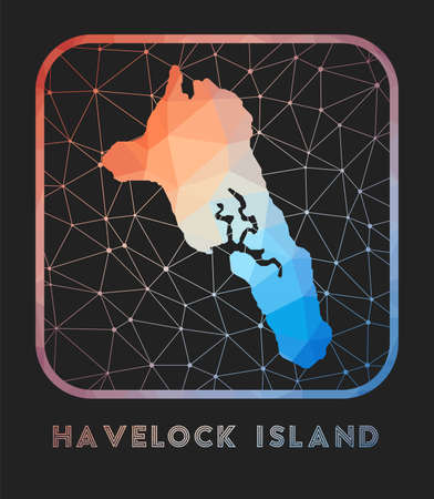 Havelock Island map design. Vector low poly map of the island. Havelock Island icon in geometric style. The island shape with polygnal gradient and mesh on dark background.