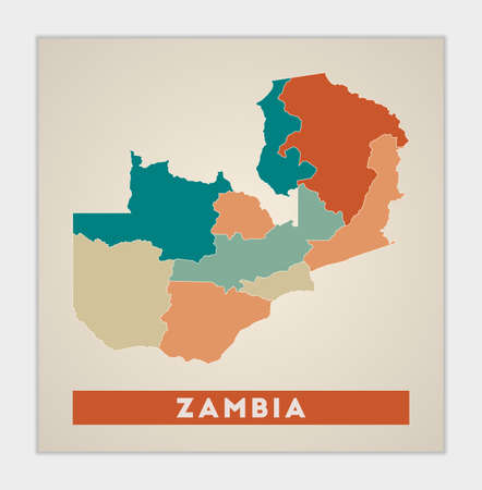 Zambia poster. Map of the country with colorful regions. Shape of Zambia with country name. Artistic vector illustration. Illustration