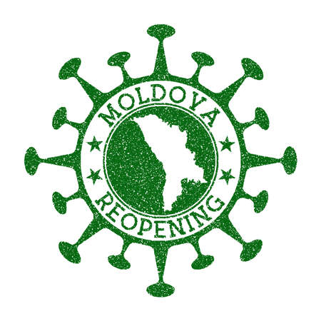 Moldova Reopening Stamp. Green round badge of country with map of Moldova. Country opening after lockdown. Vector illustration.