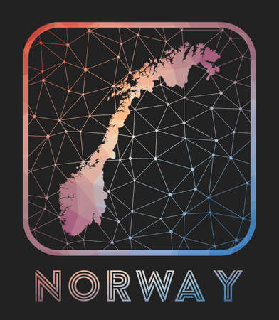 Norway map design. Vector low poly map of the country. Norway icon in geometric style. The country shape with polygnal gradient and mesh on dark background. Vectores