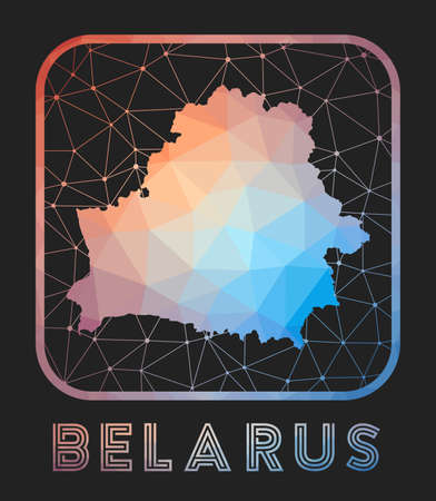 Belarus map design. Vector low poly map of the country. Belarus icon in geometric style. The country shape with polygnal gradient and mesh on dark background.