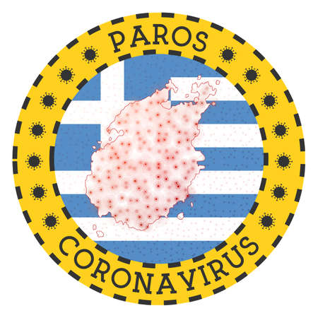 Coronavirus in Paros sign. Round badge with shape of Paros. Yellow island lock down emblem with title and virus signs. Vector illustration. 向量圖像