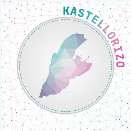 Vector polygonal Kastellorizo map. Map of the island with network mesh background. Kastellorizo illustration in technology, internet, network, telecommunication concept style.