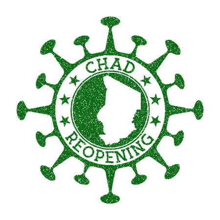 Chad Reopening Stamp. Green round badge of country with map of Chad. Country opening after lockdown. Vector illustration.