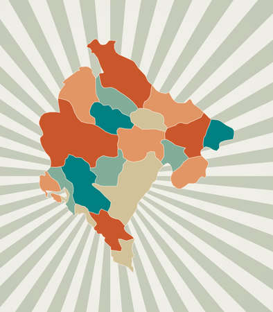 Montenegro map. Poster with map of the country in retro color palette. Shape of Montenegro with sunburst rays background. Vector illustration.