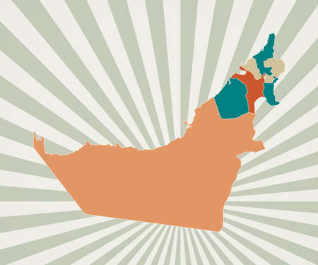 UAE map. Poster with map of the country in retro color palette. Shape of UAE with sunburst rays background. Vector illustration. Ilustração