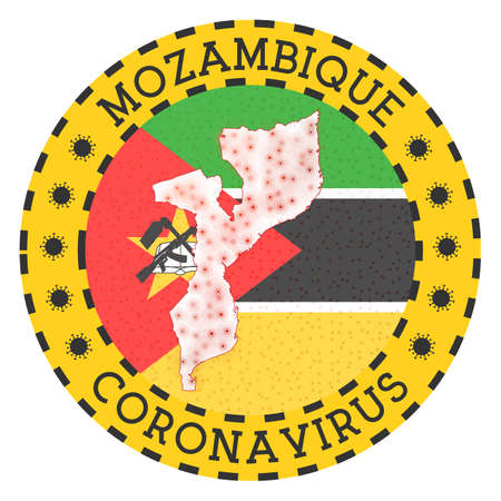 Coronavirus in Mozambique sign. Round badge with shape of Mozambique. Yellow country lock down emblem with title and virus signs. Vector illustration. Illustration