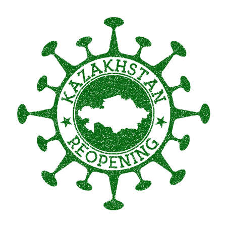 Kazakhstan Reopening Stamp. Green round badge of country with map of Kazakhstan. Country opening after lockdown. Vector illustration.
