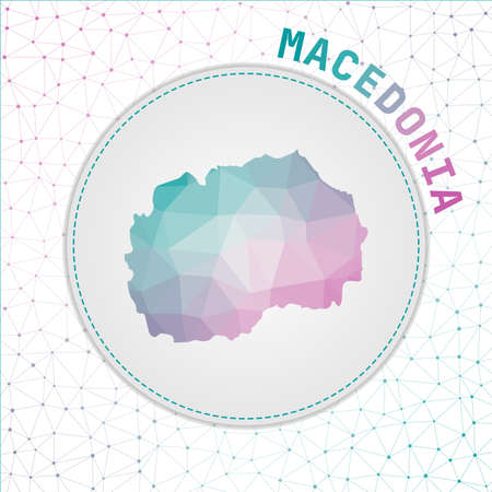 Vector polygonal Macedonia map. Map of the country with network mesh background. Macedonia illustration in technology, internet, network, telecommunication concept style . Superb vector illustration.